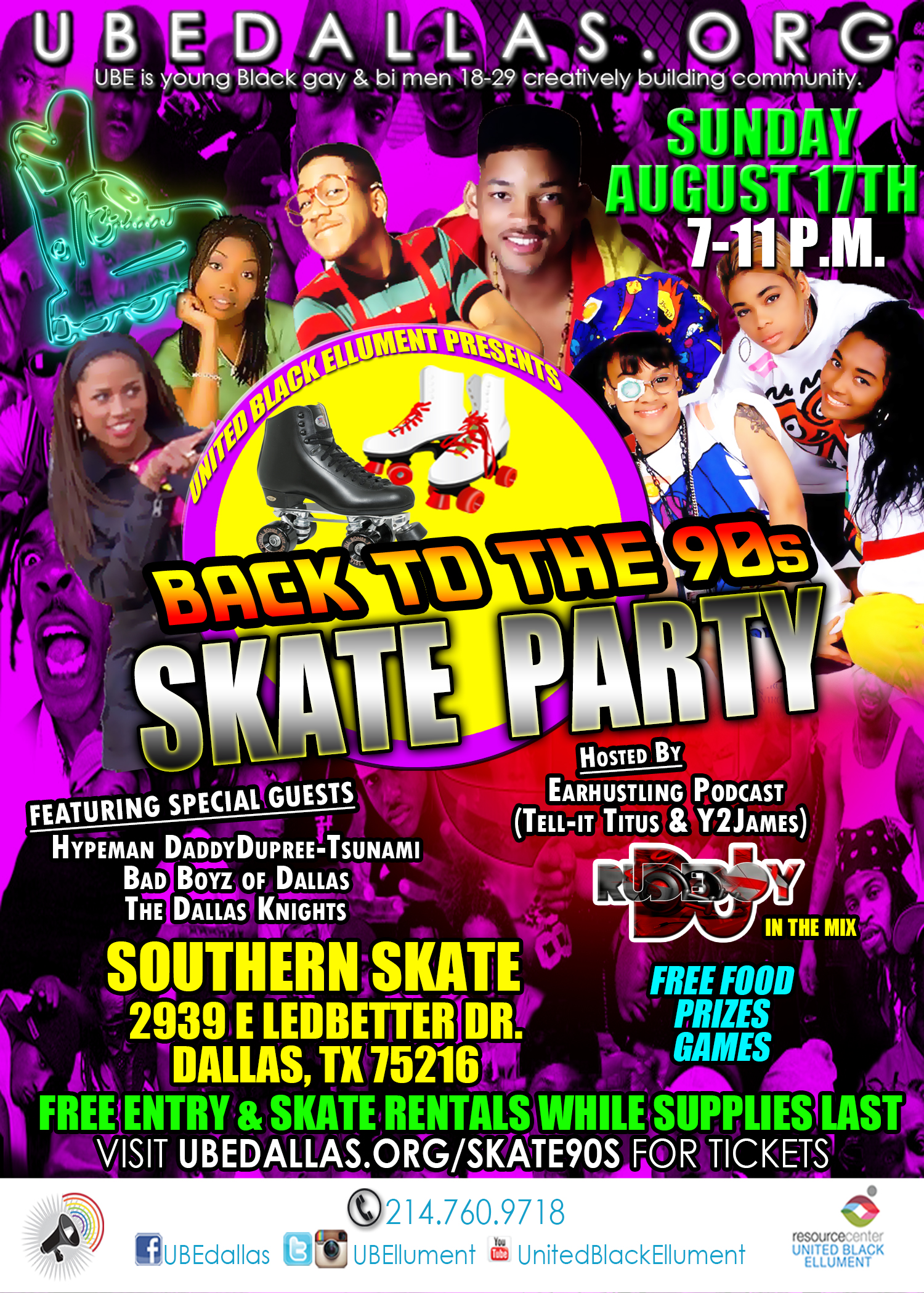 United Black Ellument will be hosting a 90's Skate Party, on Sunday, August  17th at 7:00PM. We will be skating to the funky fresh beats of the 90's  from NWA ...